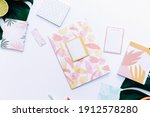 creative flat lay on white... | Shutterstock . vector #1912578280