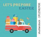 Cute Easter Rabbit In Truck...