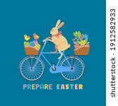 Cute Easter Rabbit On Bicycle...