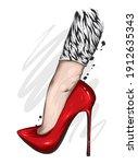 women's legs in stylish high...   Shutterstock .eps vector #1912635343