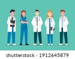 set of doctor and nurse cartoon ...   Shutterstock .eps vector #1912645879