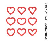 hearts vector icon collection.... | Shutterstock .eps vector #1912647100