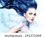 Fashion Model Girl With Water...
