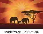 africa elephants silhouette...   Shutterstock .eps vector #191274008
