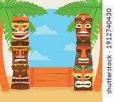 Tiki Cartoons With Palm Trees...