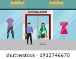 couple in face mask shopping...   Shutterstock .eps vector #1912746670