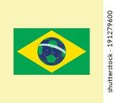 brazil flag with soccer ball | Shutterstock .eps vector #191279600