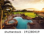 luxury home with swimming pool... | Shutterstock . vector #191280419