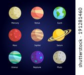 solar system planets decorative ... | Shutterstock .eps vector #191281460