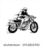 illustration man riding vintage ...   Shutterstock .eps vector #1912831933
