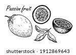 passion fruit vector sketch... | Shutterstock .eps vector #1912869643
