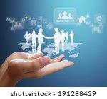 open palm hand social network... | Shutterstock . vector #191288429