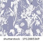 floral pattern with beautiful... | Shutterstock .eps vector #1912885369