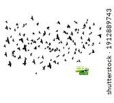 a large flock of flying birds.... | Shutterstock .eps vector #1912889743