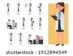 set of doctor cartoon... | Shutterstock .eps vector #1912894549