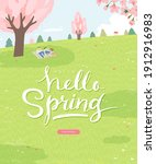 spring sale template with... | Shutterstock .eps vector #1912916983