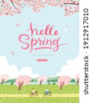 spring sale template with... | Shutterstock .eps vector #1912917010