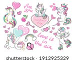 collection of funny unicorns on ...   Shutterstock .eps vector #1912925329