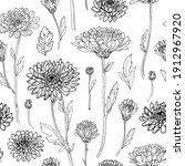 pattern flowers vector line...   Shutterstock .eps vector #1912967920