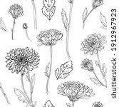 pattern flowers vector line...   Shutterstock .eps vector #1912967923
