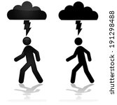 Concept vector illustration showing a person walking under a cloud with a lightning bolt