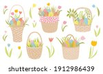 Easter Wicker Baskets Set. Hand ...