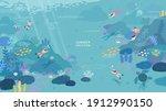 peoples diving under the ocean... | Shutterstock .eps vector #1912990150