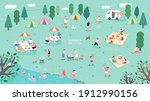 summer camp festival. people or ... | Shutterstock .eps vector #1912990156