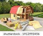 cottage construction with... | Shutterstock . vector #1912993456