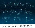 zodiac constellations. vector...   Shutterstock .eps vector #1912995526