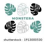set of tropical monstera leaves ... | Shutterstock .eps vector #1913000530