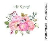 watercolor floral bouquet. cute ... | Shutterstock . vector #1913009863