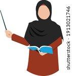 hijab muslim teacher...   Shutterstock .eps vector #1913021746