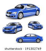Stock photo image of a blue car on different positions 191302769