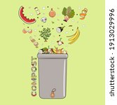 composting bin with falling...   Shutterstock .eps vector #1913029996