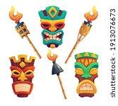 Tiki Masks  Hawaiian Tribal...