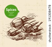 kitchen herbs and spices.... | Shutterstock .eps vector #191308478