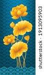 golden lotus painting on water... | Shutterstock .eps vector #1913095903