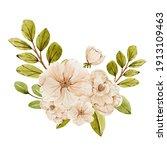 watercolor blooming pink flower ...   Shutterstock . vector #1913109463