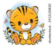 cute cartoon tiger on a blue...   Shutterstock .eps vector #1913130820