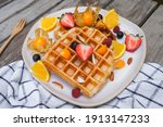 Waffles With Fresh Fruit And...