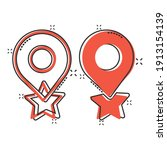 map pin icon in comic style.... | Shutterstock .eps vector #1913154139