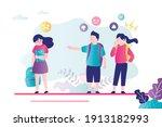 two children bully girl at... | Shutterstock .eps vector #1913182993