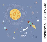 to the moon and back vector... | Shutterstock .eps vector #1913197930