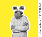 Small photo of Blah-blah. Bored female face headed body on yellow. Tongue sticking out. Modern design, contemporary art collage. Inspiration, idea, trendy urban magazine style. Negative space to insert your text or