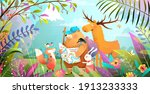 group of animals friends hiking ... | Shutterstock .eps vector #1913233333