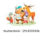 forest animals camping  hiking... | Shutterstock .eps vector #1913233336