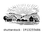 village with fields and sun | Shutterstock .eps vector #1913255686
