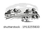 cows chewing grass on... | Shutterstock .eps vector #1913255833