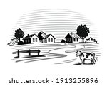 cow stands in a village next to ... | Shutterstock .eps vector #1913255896